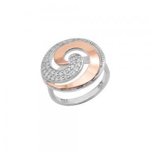 Sidabrinis žiedas su aukso plokštelė 16.5  mm