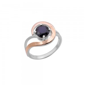 Sidabrinis žiedas su aukso plokštelė 18  mm