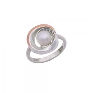 Sidabrinis žiedas su aukso plokštelė 17  mm