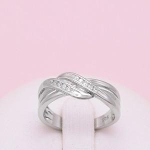Sidabrinis žiedas su cirkoniais 17.25 mm 174K10