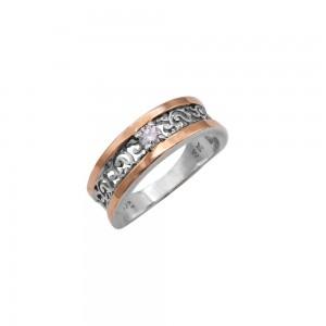 Sidabrinis žiedas su aukso plokštelė ir cirkoniu 18mm