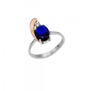 Sidabrinis žiedas su aukso plokštelė ir safyru 17.5  mm