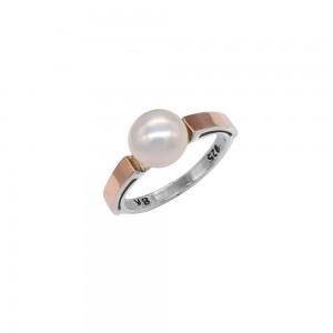 Sidabrinis žiedas su aukso plokštelė 17.5  mm